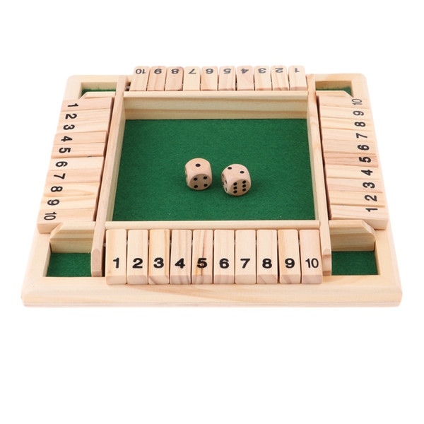 top popular Deluxe Four Sided 10 Numbers Shut The Box Board Game Set Dice Party Club Drinking Games for Adults Families 2021