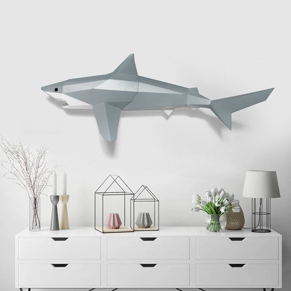 best selling 3D Great White Shark Paper Model Toy Home Decor Living Room Decor DIY Paper Craft Model Party Gift Q1217