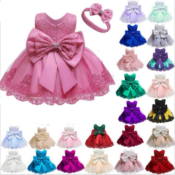 best selling Winter Baby Girls Dress Newborn Lace Princess bow skirt For Baby 1st Year Birthday Dress Christmas Costume Infant Party Dress with free head