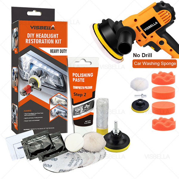 best selling utomobiles & Motorcycles VISBELLA Professional Headlight Restoration Kit DIY Headlamp Brightener Car Care Repair kit Head Lense Clean Pol...