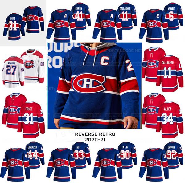 top popular 31 Carey Price Montreal Canadiens 2021 Reverse Retro Shea Weber Paul Byron Karl Alzner Brendan Gallagher Jonathan Dro0uin Toffoli Jersey 2020