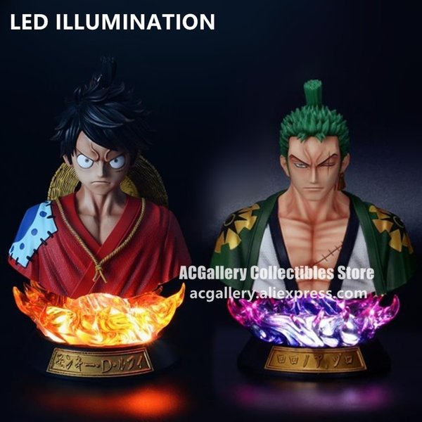 top popular Anime One Piece Figure One Piece Roronoa Zoro Luffy Bust PVC Action Figure Toys 201202 2021