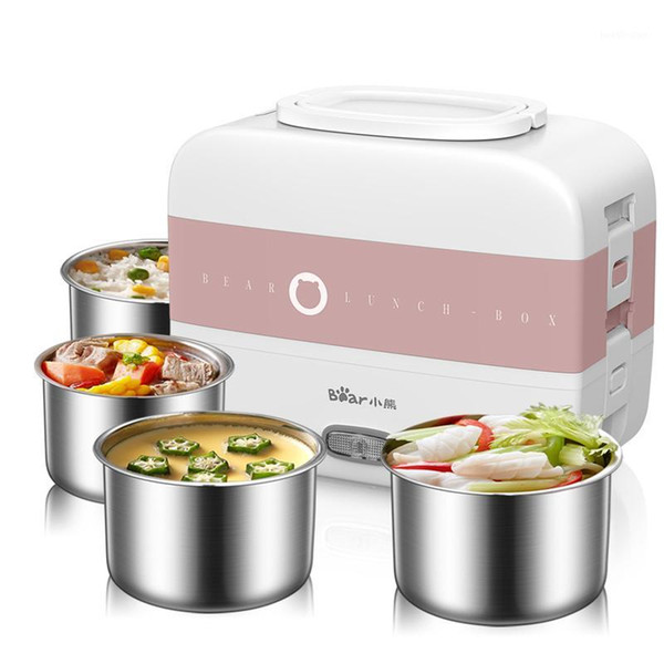 top popular 220V Electric Lunch Meals Heating Box Household Portable Electric Multi Cooker Rice Cooker With 4 Liners EU AU UK US Plug1 2021