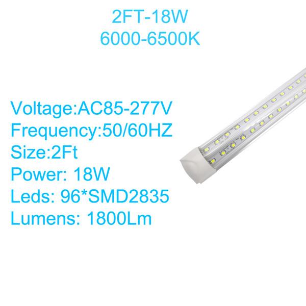 2Ft 18W V-förmiger klarer Deckel