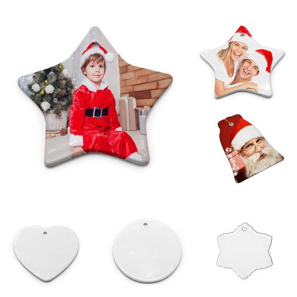 New Fashion Sublimation Blank Ceramic Pendant Creative Christmas Ornaments Heat Transfer Printing DIY Ceramic Ornament 6 Styles
