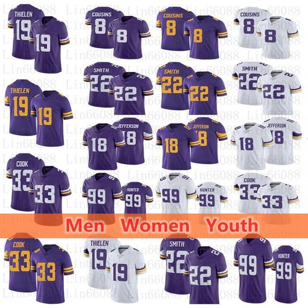 top popular Men women youth 33 Dalvin Cook 19 Adam Thielen Kirk Cousins Harrison Smith 18 Justin Jefferson Danielle Hunter Football Jersey 2021