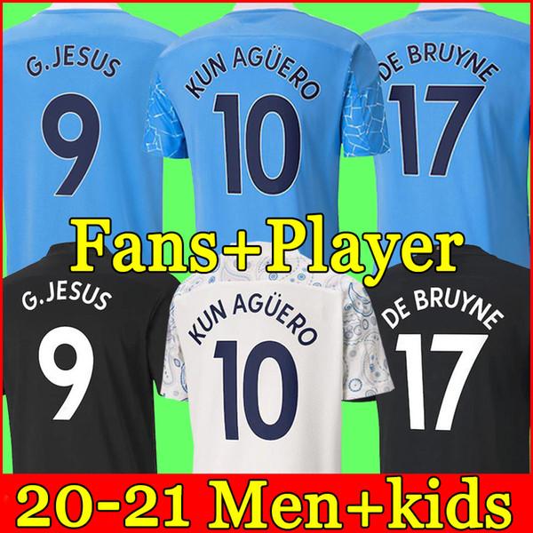 top popular 2020 2021 Manchester soccer jersey 20 21 G. JESUS CITY STERLING FERRAN DE BRUYNE KUN AGUERO football shirts MAN uniform men + kids kit 2021