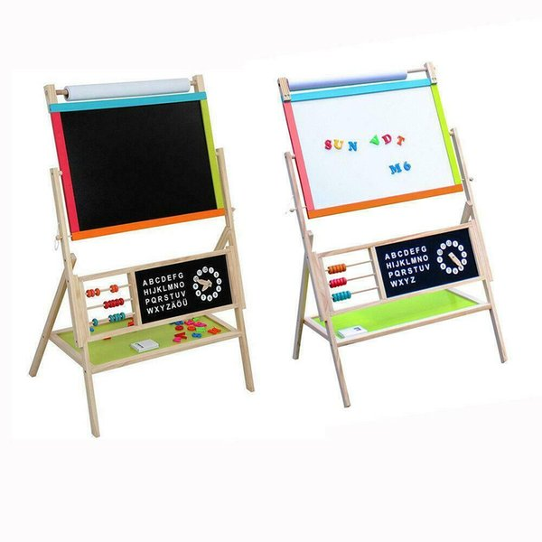 best selling Large Size All In One Kid's Wooden Art Easel Double Side w  Paper Roll & Tray