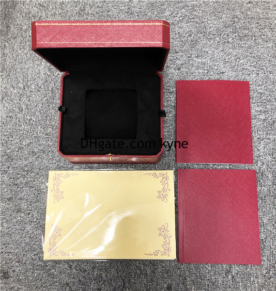 top popular DropShip Top Seller Classic Red Watch Box Set with Certificate Exquisite Empty Watch Retail Box Free Shipping 2020