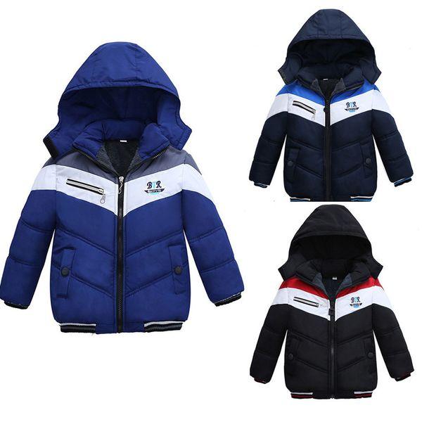 best selling Winter Thick Jacket Toddler Kids Baby Boys Girls Winter Stripe Jacket Zipper Hooded Windproof Coat Vetement Baby Fille Hiver Q1123