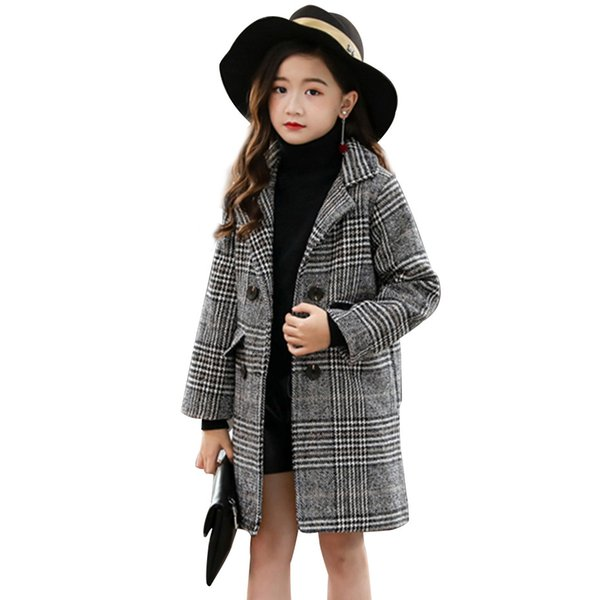 best selling Girls Coat Fashion Plaid Wool Coat For Girls Double-breasted Kids Outerwear Autumn Thick Winter Clothes For Girls 6 8 10 12 14 Q1123