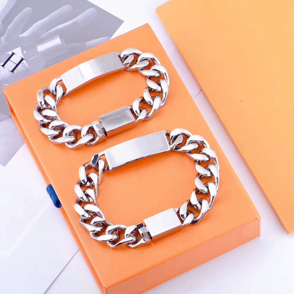 top popular hot selling Quality Silver Titanium Steel Bracelet Men and Women Bracelet Chain Fashion Personality Hip-hop Bracelet Supply 2021