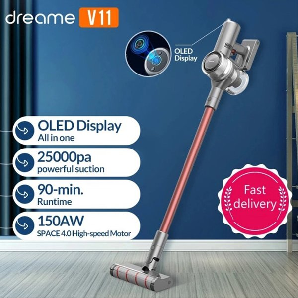 best selling Original Dreame V11 Vacuum Cleaner Smart Cordless Dust Collector One Button Turn ON OFF 25000Pa Suction Carpet Sweep