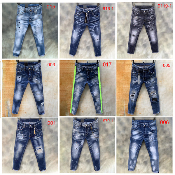 top popular 2020 mens jeans denim ripped jeans for men skinny broken Italy style hole bike motorcycle rock revival pants12s tyle 2021