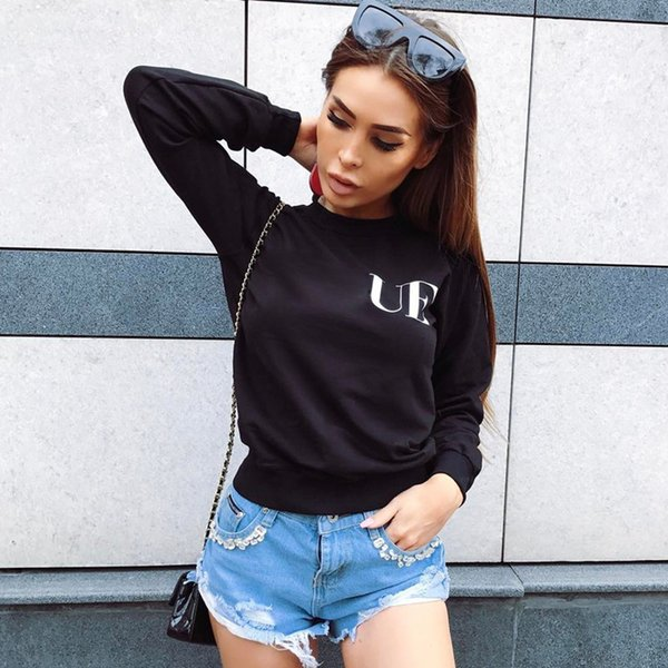top popular Womens Fashion Sweatshirts Casual Letters Pullovers for Girl 2020 Autumn New Hoodies Pattern Jumpers Asian Size 3 Styles Wholesale 2021