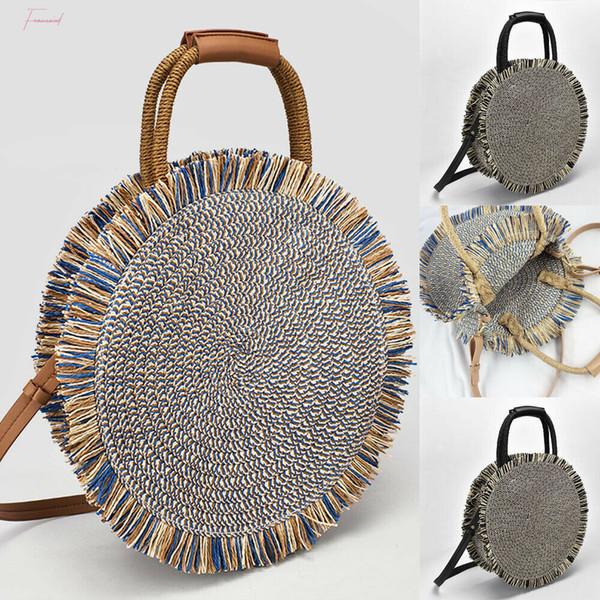 2020 Newest Hot Straw Bag Summer Beach Rattan Handmade Tassel Shoulder Bags Wicker Weave Round Handbag Crossbody