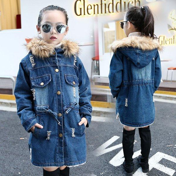 top popular Teenage Kids Winter Warm Girls Denim Jacket Velvet 2020 Fashion Girl Jean Jackets 2020 for 4 5 6 7 8 9 11 12 Years Children Q1123 2020
