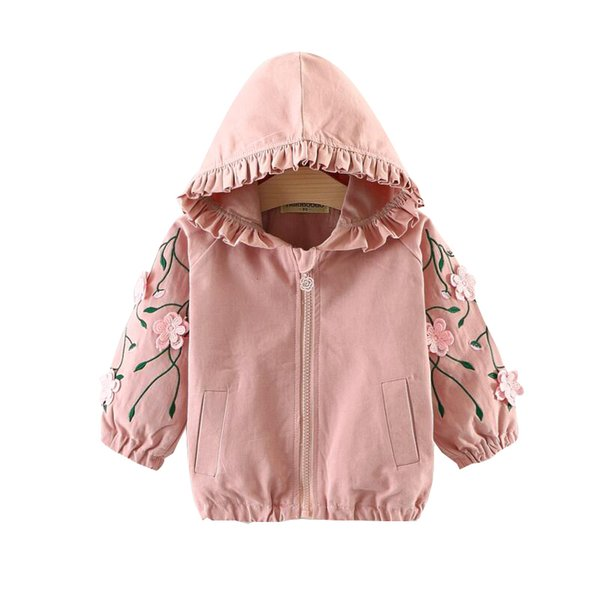 best selling Girls Spring Autumn Clothes Children Fashion Embroidery Flower Zipper Hooded Cardigan Cotton Windbreaker Loose Kid Casual Hoodie Q1123