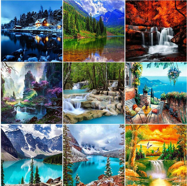 top popular Square 5D DIY Diamond Painting Waterfall Nature Full Round Drill Diamond Embroidery Landscape Mosaic Picture Of Rhinestones Home Decor 2021