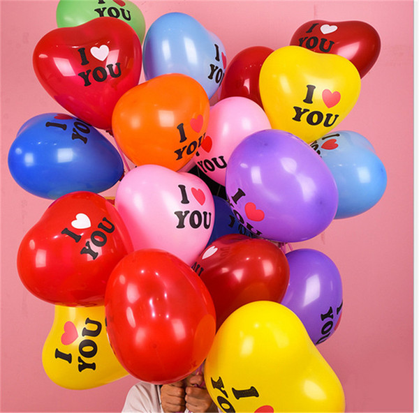best selling 100pcs bag Heart Shape Balloon 12 Inch Valentines Day Decorative Balloon for Wedding Party I LOVE YOU Letters Balloons Supplies E122310