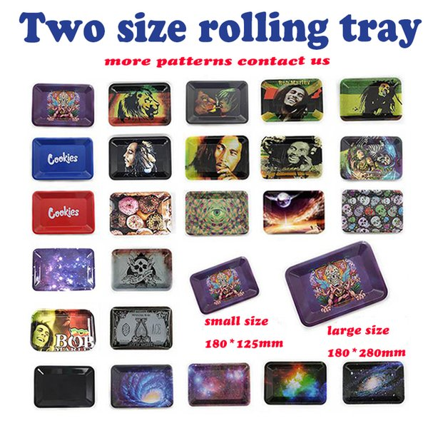 best selling metal roll rolling trays Bob Marley tray 188*125mm 285*185mm for smoking pipes papers mix pattern leaf
