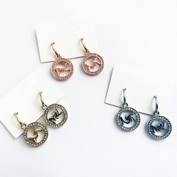 best selling 2020 New York Stylist Drop Earrings Women Pave Dangles Crystal Pave Circle Hoop Earring with Earring Cartons Cards