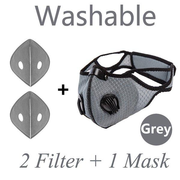 Masque de visage gris 1pcs + filtres 2pcs