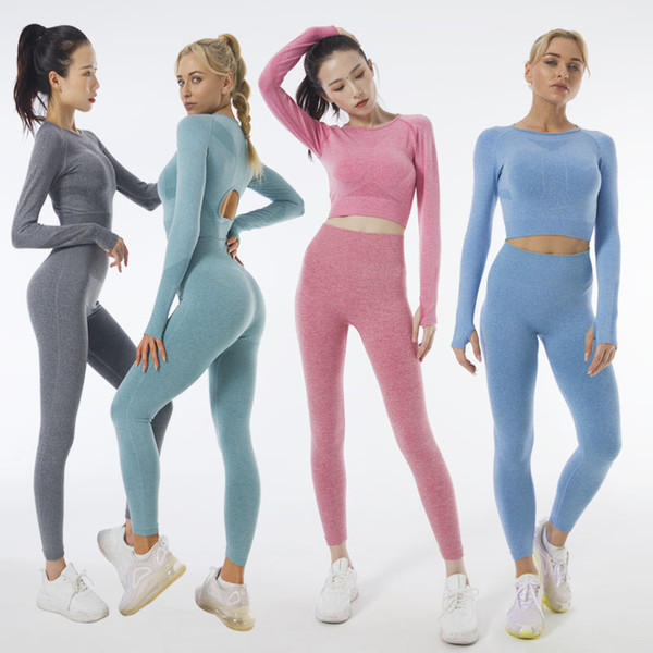 top popular Hot Selling INS Long Sleeve Yoga Suit Seamless Knitted Autumn and Winter Fitness Suit Women Tracksuits 2021