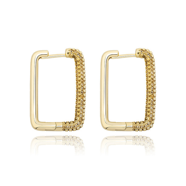 top popular Hip Hop Earrings For Women Fashion 18K Gold Rhodium Plated Geometric Rectangle Earrings Brief Luxury Bling Zircon Earrings Jewelry 2021