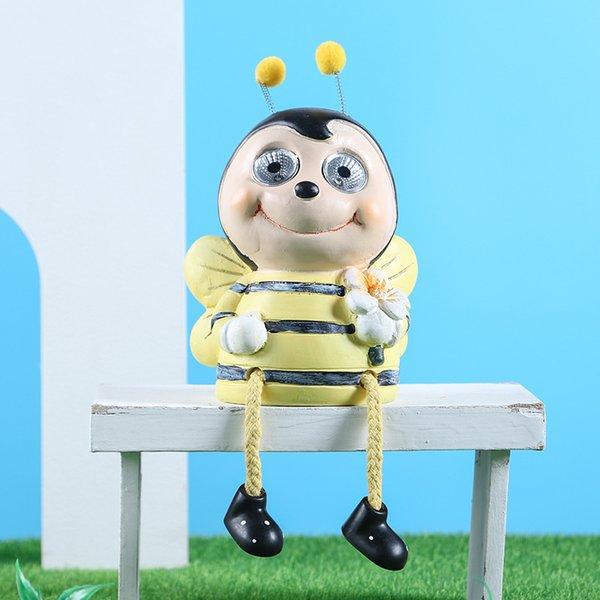 Adorno solar de abeja jardín amarillo