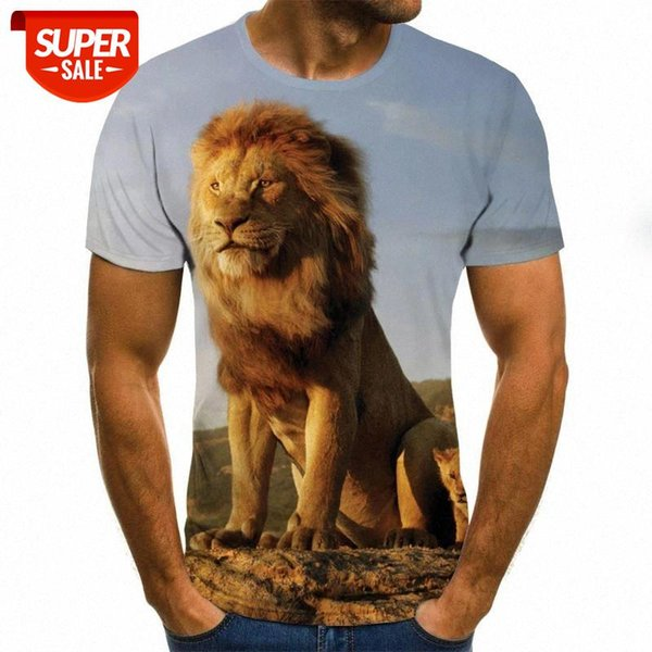 top popular 2020 color printing men's T-shirt fashion lion pattern O-neck pullover men's 3D T-shirt #6W2c 2021