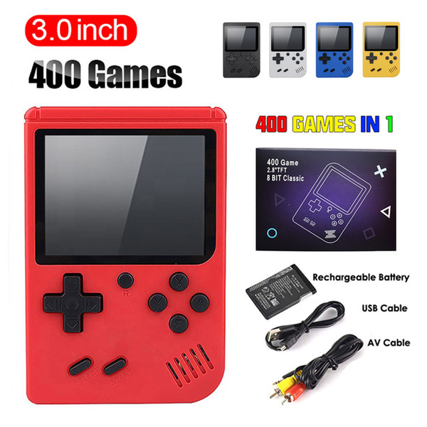 top popular 400-in-1 Mini Handheld Video Game Console Portable Players with 3-inch Color LCD and 400 Classic Games Retro 8-bit Design 2021