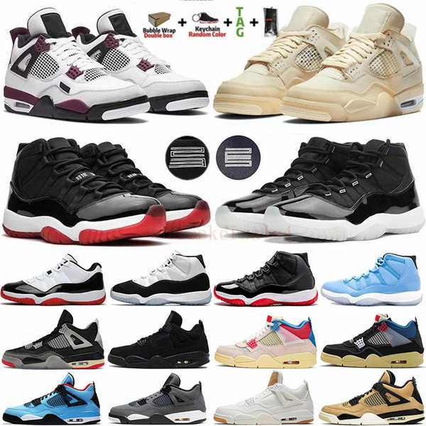 best selling White Bred Cactus Jack Paris Sail 4 4s What The Mens Basketball Shoes 11 11s Concord 45 25th Anniversary Jumpman Trainers Men Sport Sneakers