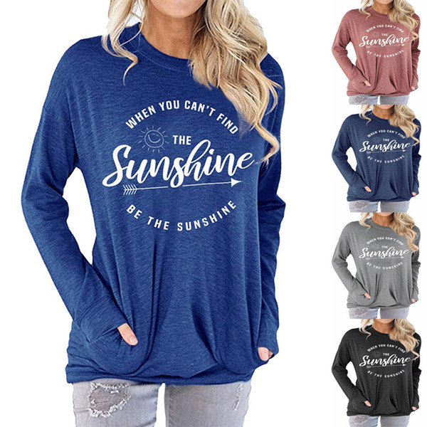 best selling Womens bat shirt Be The Sunshine printed Round Neck Long-sleeved T-shirt Fall Thin Long Sleeve For Women Size S-2XL
