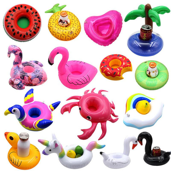 best selling Floating Inflatable Toys Drink Cup Holder Beverage Party Donut unicorn Flamingo Watermelon Lemon Coconut Tree Pineapple Shaped Pool Toys