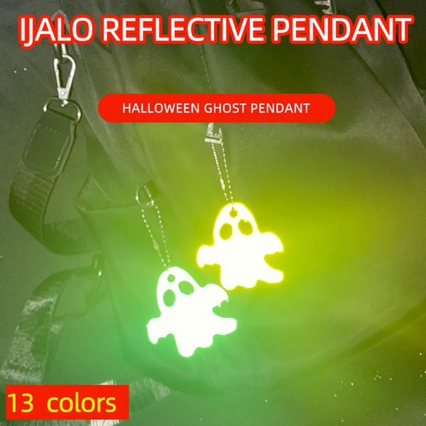Automobiles & Motorcycles Halloween Ghost Cute Soft PVC Reflective Keychain Car Pendant Charm Bag Accessories for Traffic Safety Use