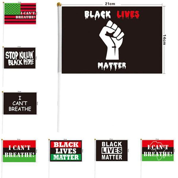 top popular 21*14cm I Can't Breathe Justice Flag for Black People US Handheld Outdoors Banner Flag Polyester Black Lives Matter Peace Flag 9 Style 2021