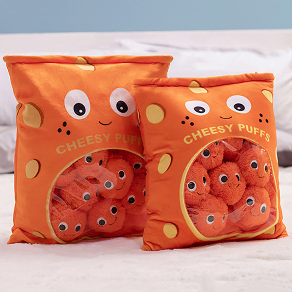 best selling 6pcs 9pcs a bag of cheesy puffs toy stuffed soft snack pillow plush puff toy kids toys birthday christmas gift for child MX200716