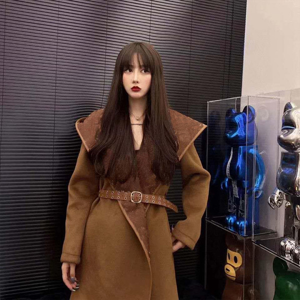 best selling The design of hooded woolen outerwear women medium and long Autumn winter Korean version of the style of loose slim body show thin SKAG
