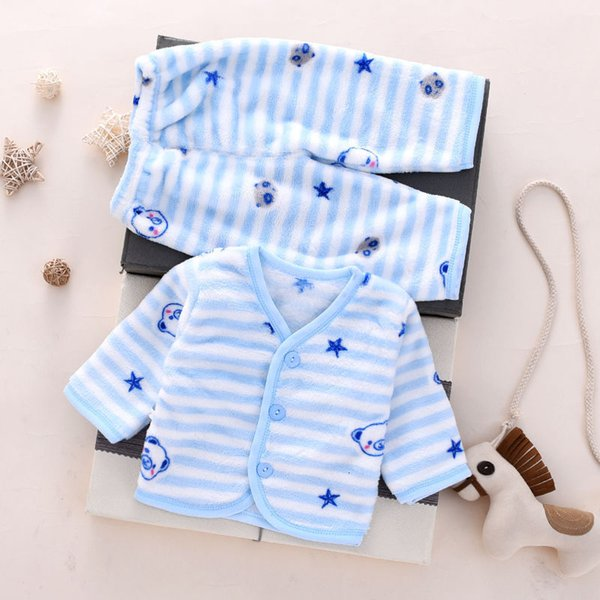 Синий полосатый медведь фланелевый теплый костюм