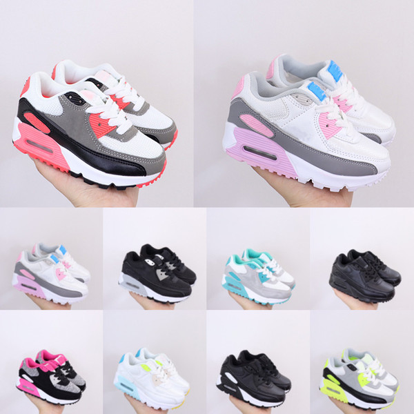 top popular AM 90 Running Shoes Hyper Blue Teal Little Kids Shoe Light Smoke Grey Pink Metallic Silver Triple White Aurora Green Volt Barely Sneakers 2021