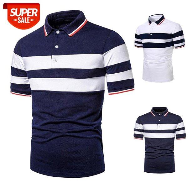 top popular Men Short Sleeve Tops Fashion Collocation Crossborder Two Color Splicing Lapels Men Short Sleeve T-shirt #tC0o 2021
