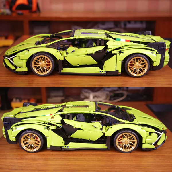 top popular In stock 81996 3696pcs city Racing car Green Supercar Building Block Bricks Education Toys Free shipping Compatible 42115 2021