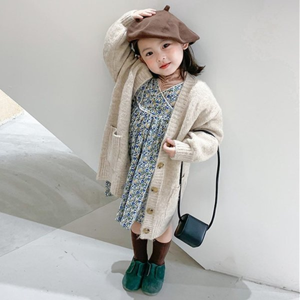 top popular Korean Baby Girls Mid-length Solid Sweaters Cardigan Girl Single-breasted Loose Children Fashion All-match Warm Knitted Coat Q1123 2020