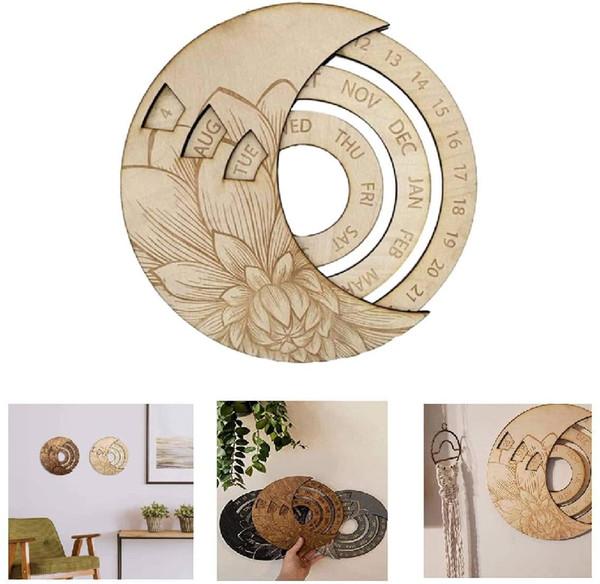 best selling Perpetual Calendar Wooden-No Glue Design Calendar-Circular Wall Hanging Calendar-Rotating Disks-Rustic Decor for Home, Office-White