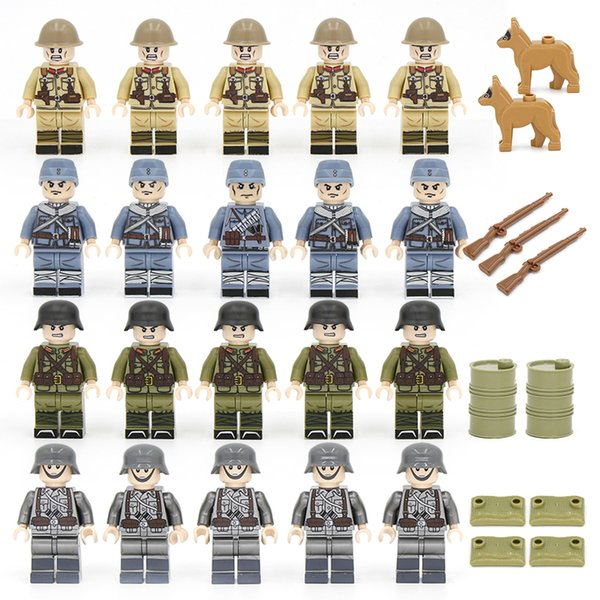 top popular 20 50PCs lot WW2 German Military Army Soldiers KMT eighth route army Japanese Building Blocks Bricks with Gift Toys for Children Q1217 2021