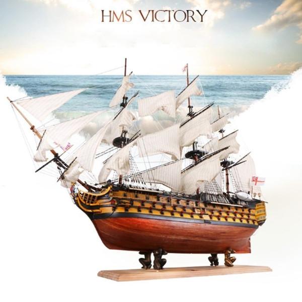"best selling DIY Handmade Assembly Ship 21"" Wooden Sailing Boat Model Kit Ship Handmade Assembly Decoration Gift For Children Boy Y200428"