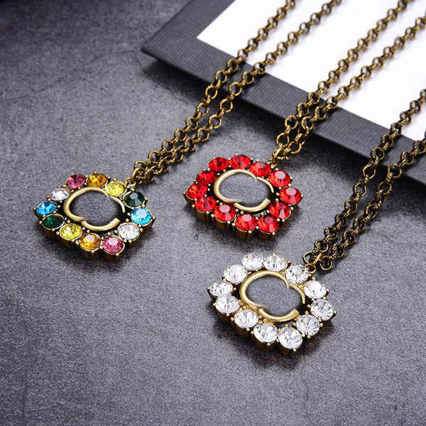 best selling Vintage Colorful Diamond Necklace Ladies Letters Crystal Necklaces Women Pendant Necklace Girl Exquisite Pendants Jewelry Gift