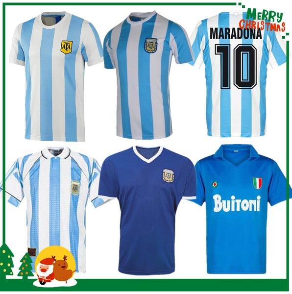 best selling 1978 1986 Argentina Maradona home Soccer jersey Retro 1981 Boca Juniors Naples Napoli Football Shirt