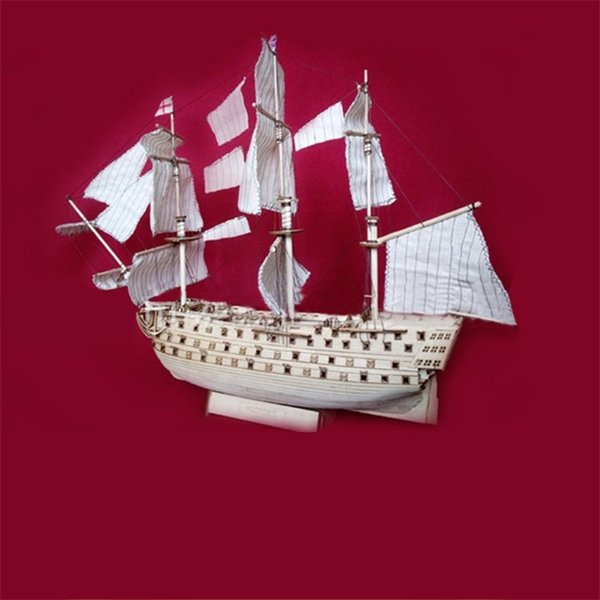 top popular RCtown DIY Wood Assembled Victory Royal Navy Ship Sailboat Modeling Toy Decoration Y200428 2021